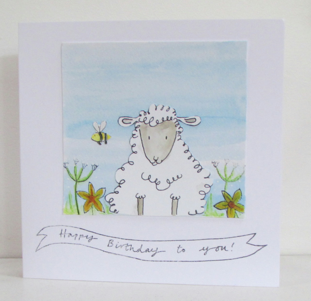 Watercoloured Sheep Card