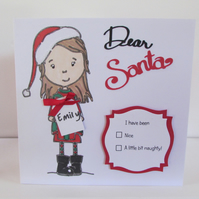 Personalised Christmas Card  - for a girl