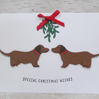 Christmas Dachshund Dog Card Special Christmas Wishes