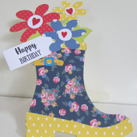 Wellington Boot Shaped Card