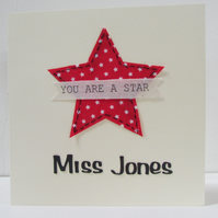 Your a Star Personalised Teacher Thank You Card