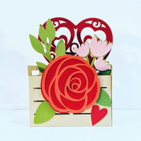 Love Flowers Crate Pop Up Card