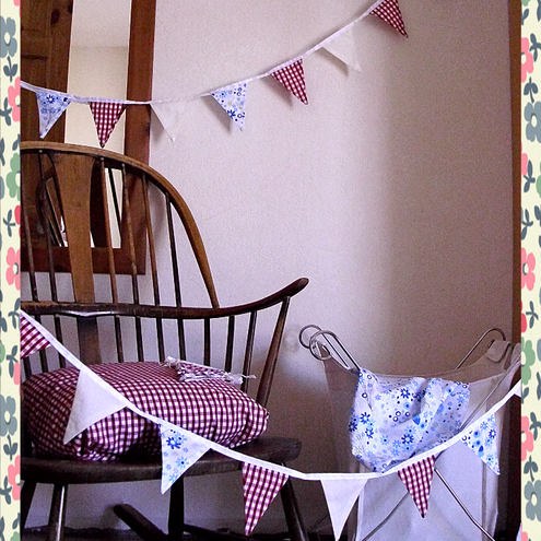 6 ft Shabby Chic Mini Bunting in Gingham and Floral Print