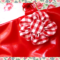 Red Gingham Shabby Chic Style Fabric Flower for Accessorizing or Embellishments