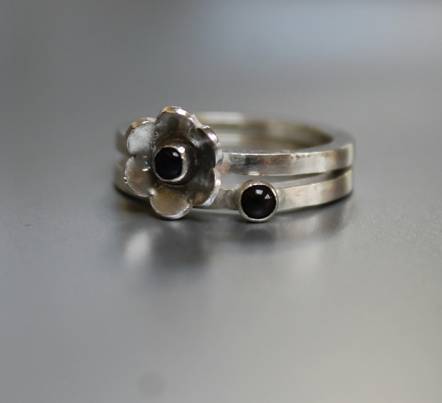 Pair of Flower and Stone Set Stacking Rings