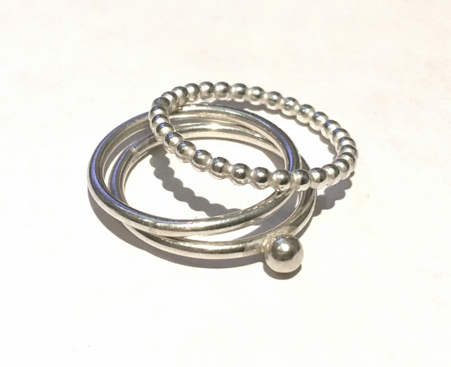 Silver Stacking Rings (size J)