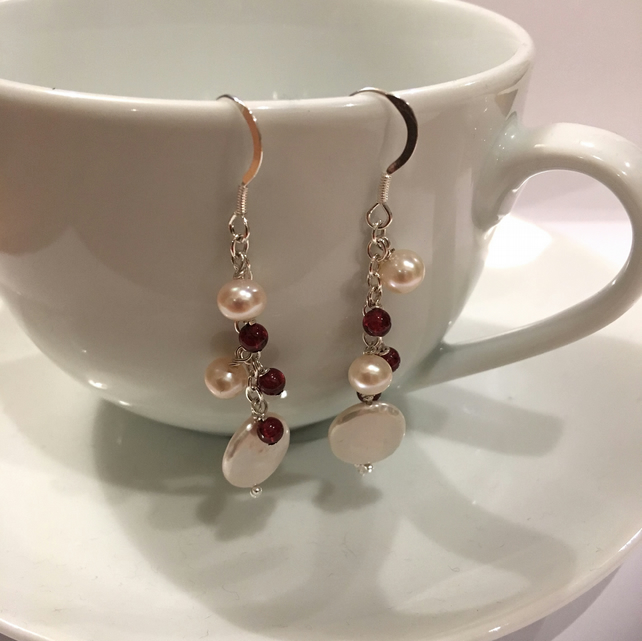 Freshwater Pearl and Garnet Drop earrings