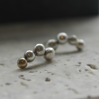 Recycled Silver Free-Form Studs with Gold Accent