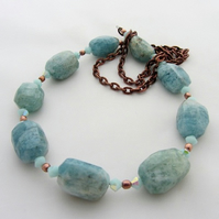 Aquamarine birthstone gemstone necklace turquoise copper