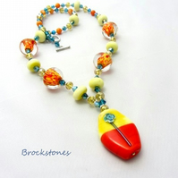 Glass lampwork necklace tangerine lemon turquoise yellow orange
