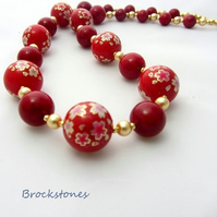 Red flower decal beads with Swarovski gold pearl necklace