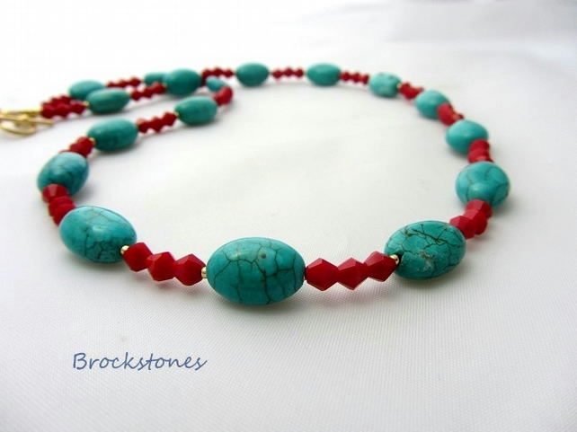 Red and turquoise beaded necklace