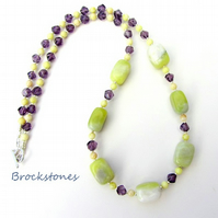 Lemon Jasper and Jade necklace with Aubergine crystals