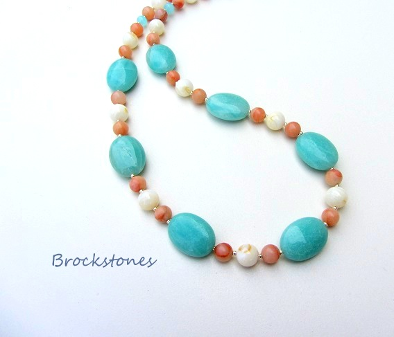 Amazonite Mother of Pearl and Peach Quartz summer necklace