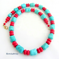 Turquoise and red chunky handmade necklace