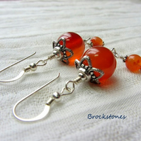 Carnelian Birthstone earrings July August  Leo Virgo Sterling Silver
