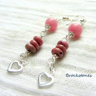 Rhodonite sterling silver birthstone earrings July