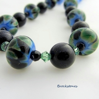 Blue Goldstone and Lampwork handmade necklace