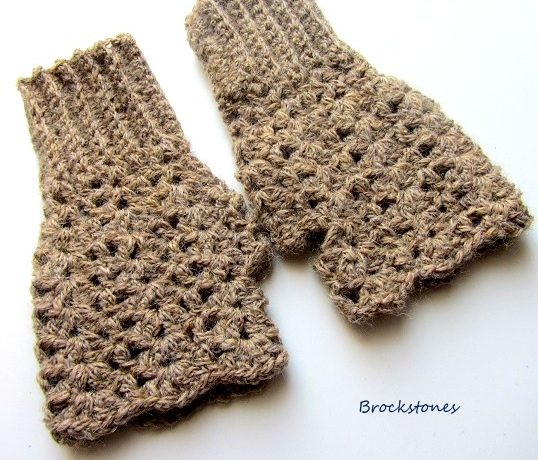 Fingerless crochet mittens in baby alpaca and merino wool texting gloves