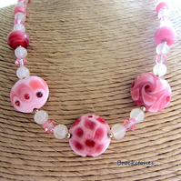 Pink lampwork necklace Rose Quartz Swarovski Crystal