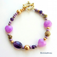 Jade and Amethyst bracelet with gold pearls