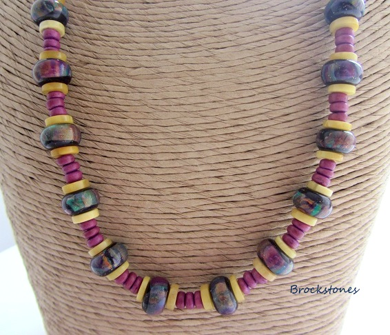 Polymer clay and vintage amber beaded necklace