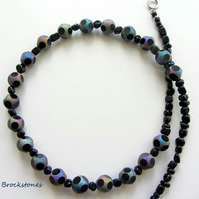 Onyx and Rainbow beads necklace sterling silver