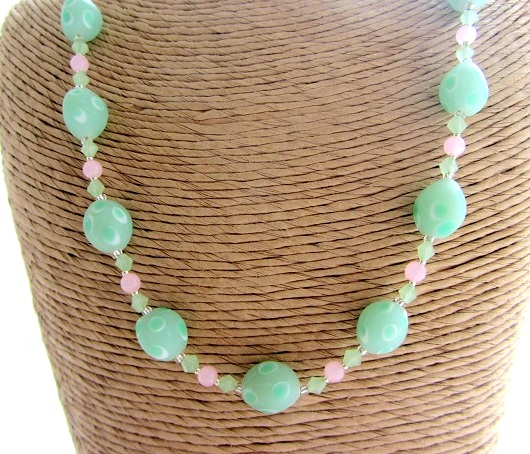 Mint and pink etched glass necklace