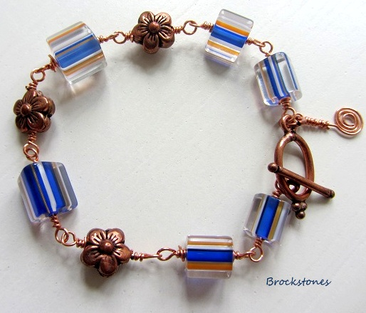Wire wrapped copper beaded bracelet