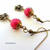 Antique brass and fuchsia pink earrings