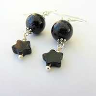 Midnight blue Goldstone and silver earrings