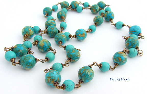 Mosaic Magnesite necklace 34 inches long necklace