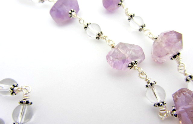 Ametrine birthstone necklace with crystals Sterling Silver clasp