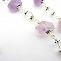 Ametrine October birthstone necklace with crystals Sterling Silver clasp