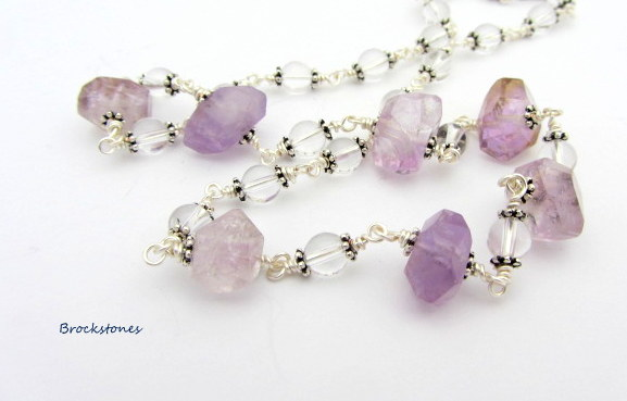 Ametrine January birthstone necklace with crystals Sterling Silver clasp