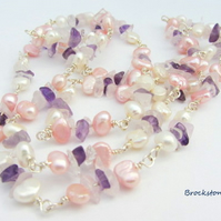 Freshwater Pearl and gemstone wrapped loop necklace 120 cms long