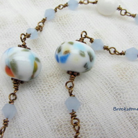 White blue and yellow lampwork glass necklace Antique bronze wired