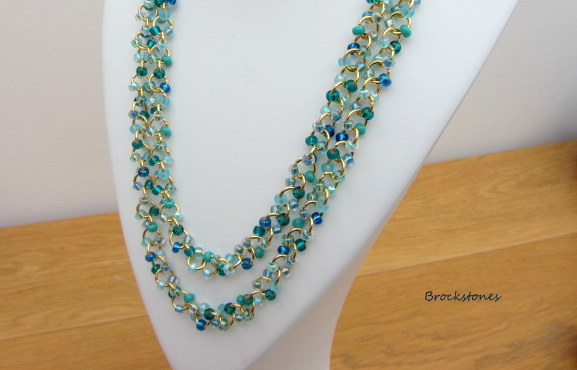 Long necklace 45 inches aquamarine chain linked Miyuki seed beads