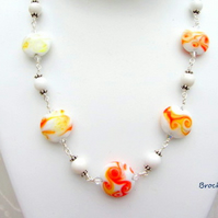 Lampwork necklace orange yellow white sterling silver clasp