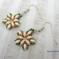 Cream star shaped hand woven earrings