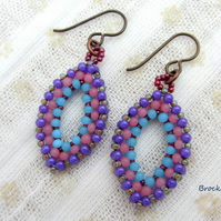 Hypo allergenic niobium hand woven earrings blue pink purple