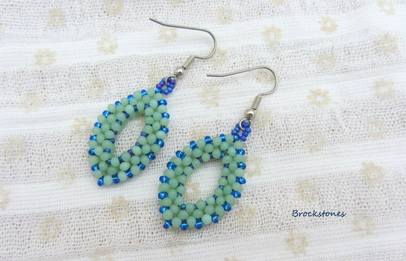 Art deco earrings blue green hand woven stainless steel earwires