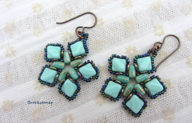Flower shaped beaded earrings Niobium hypoallergenic earwires