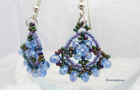 Fan shaped blue crystal earrings Sterling Silver