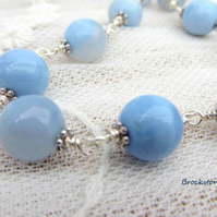 Blue Agate hand wire wrapped necklace Birthstone Gemini