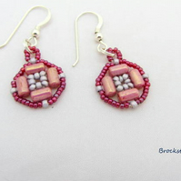 Pink and cranberry hand woven earrings sterling silver earwires