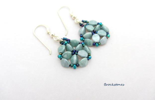 Blue flower shaped hand woven earrings sterling silver earwires