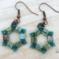 Hexagonal aquamarine blue earrings hand woven
