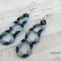 Aquamarine blue earrings hand woven  Sterling silver earwires