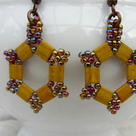 Hexagonal mustard yellow earrings hand woven